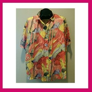 100% SILK COOL & ARTSY VINTAGE SHIRT THE LIMITED
